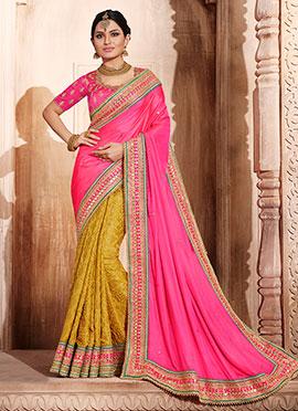 Yellow N Pink Half N Half Saree