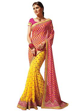 yellow N Pink Leheriya Half N Half Saree