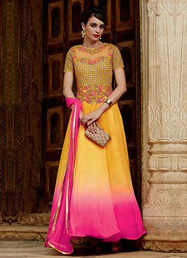 Yellow N Pink Ombre Anarkali Suit