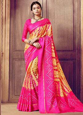 Yellow N Pink Supernet Cotton Saree