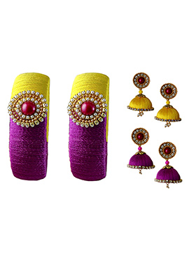 Yellow N Purple Bangles Combo