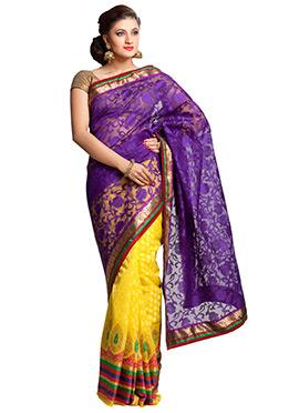 Yellow N Purple Half N Half Saree