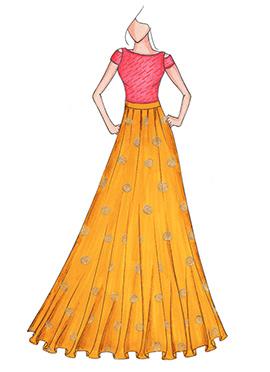 Yellow N Rani Pink Highwaisted Skirt N Crop Top