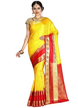Yellow N Red Art Kancheepuram Silk Saree