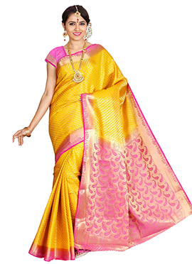 Yellow N Red Art Kancheepuram Silk Saree