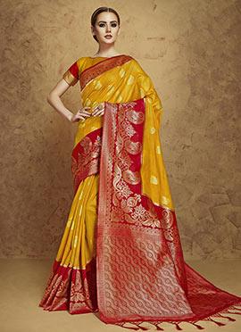 Yellow N Red Art Silk Saree