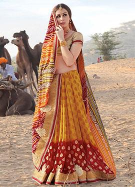Yellow N Red Bandhini Half N Half Saree