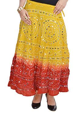 Yellow N Red Cotton Bandhini Printed Skirt