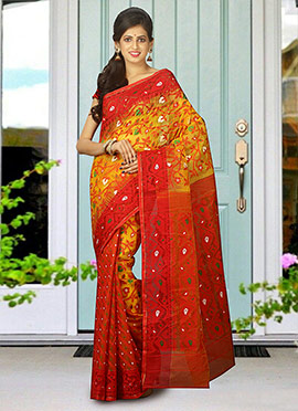 Yellow N Red Cotton Jamdani Saree