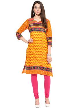 Yellow N Red Cotton Printed Short Kurti