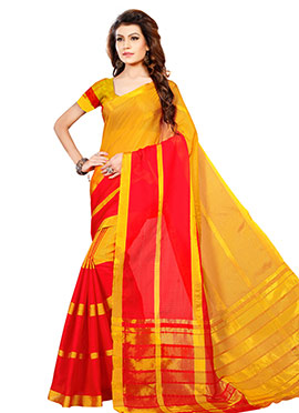 Yellow N Red Cotton Saree