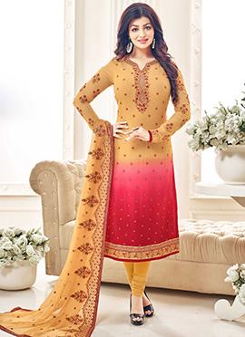 Ayesha Takis Yellow N Red Churidar Suit