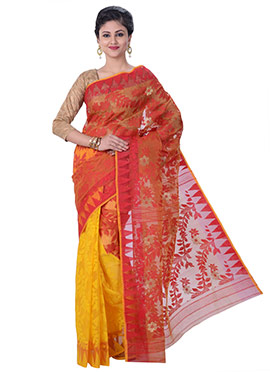 Yellow N Red Jamdani Muslin Silk Half N Half Saree