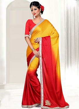 Yellow N Red Ombre Crepe Jacquard Saree