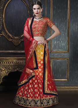 Yellow N Red Ombre Dyed A Line Lehenga Choli
