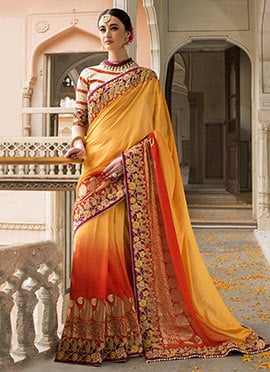 Yellow N Red Pure Silk Saree