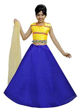 Yellow N Royal Blue Art Silk Kids A Line Lehenga