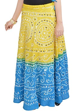 Yellow N Sky Blue Cotton Bandhini Printed Skirt