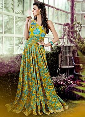 Yellow N Sky Blue One Shoulder Anarkali Gown