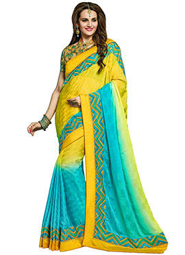 Yellow N Turquoise Blue Crepe Saree