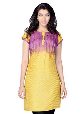 Yellow N Violet Art Silk Short Kurti
