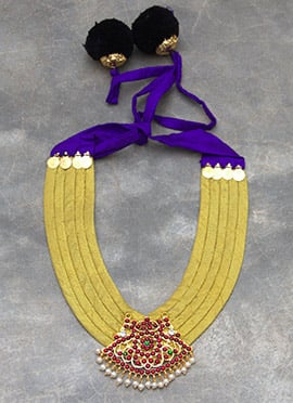 Yellow N Violet Polki N Pearls Studded Necklace