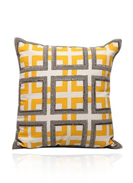 Yellow N White Art Silk Cushion Cover