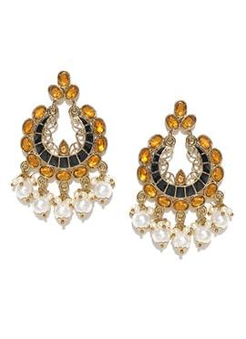 Yellow N White Beads Chandbali Earrings