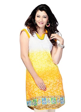 Yellow N White Blended Cotton Short Kurti