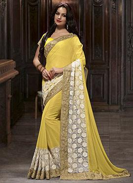 Yellow N White Georgette N Net Saree