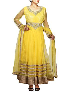 Yellow Net Ankle Length Anarkali Suit