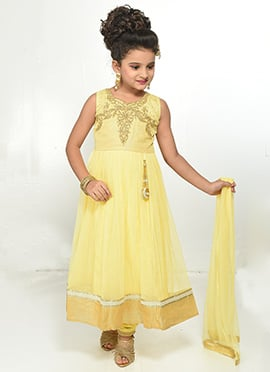 Yellow Net Kids Anarkali Suit