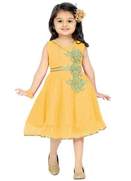Yellow Net Kids Dress