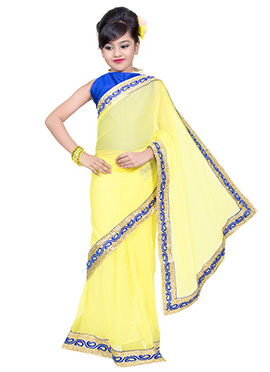 Yellow Net Kids Saree