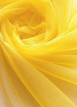 Yellow Net Plain Fabric
