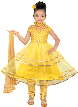 Yellow Net Satin Kids Anarkali Suit