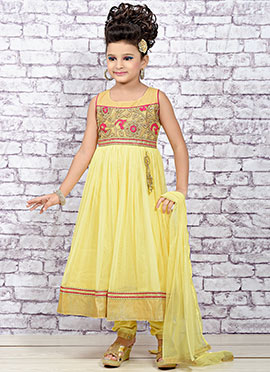 Yellow Net Teens Anarkali Suit