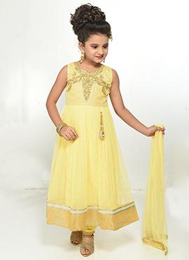 Yellow Net Teens Anarkali Suit
