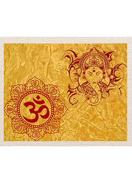 Yellow Om Ganpati Canvas