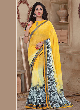 Yellow Ombre Abstract Printed Saree