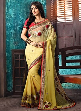 Yellow Ombre Georgette Saree