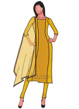 Yellow Panelled Dupion Silk Churidar Suit