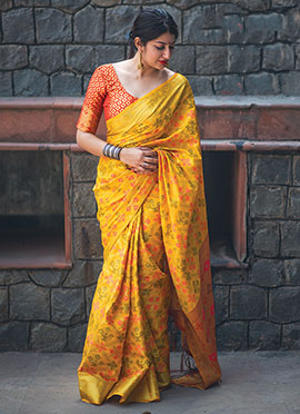 Yellow Patola Silk Saree