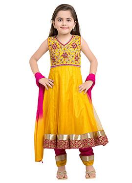 Yellow Polyester Net Girls Anarkali Suit