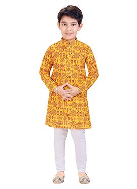 Yellow Printed Kids Kurta Pyjama