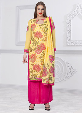 Yellow Printed Palazzo Suit