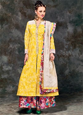 Yellow Printed Palazzo Suit