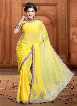 Yellow Pure Chiffon Saree