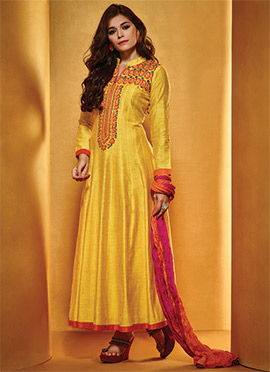 Yellow Pure Cotton Anarkali Suit