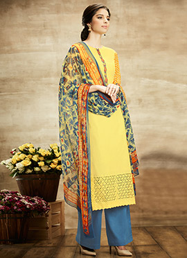 Yellow Pure Cotton Palazzo Suit